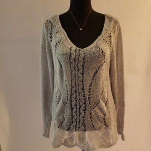 Lauen Conrad grey crochet long sleeve sweater